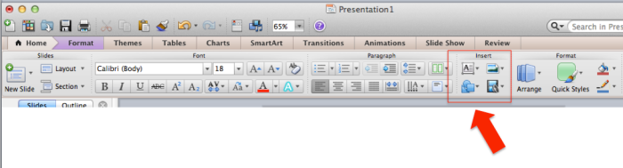 Toolbar Main Text Shapes Pictures