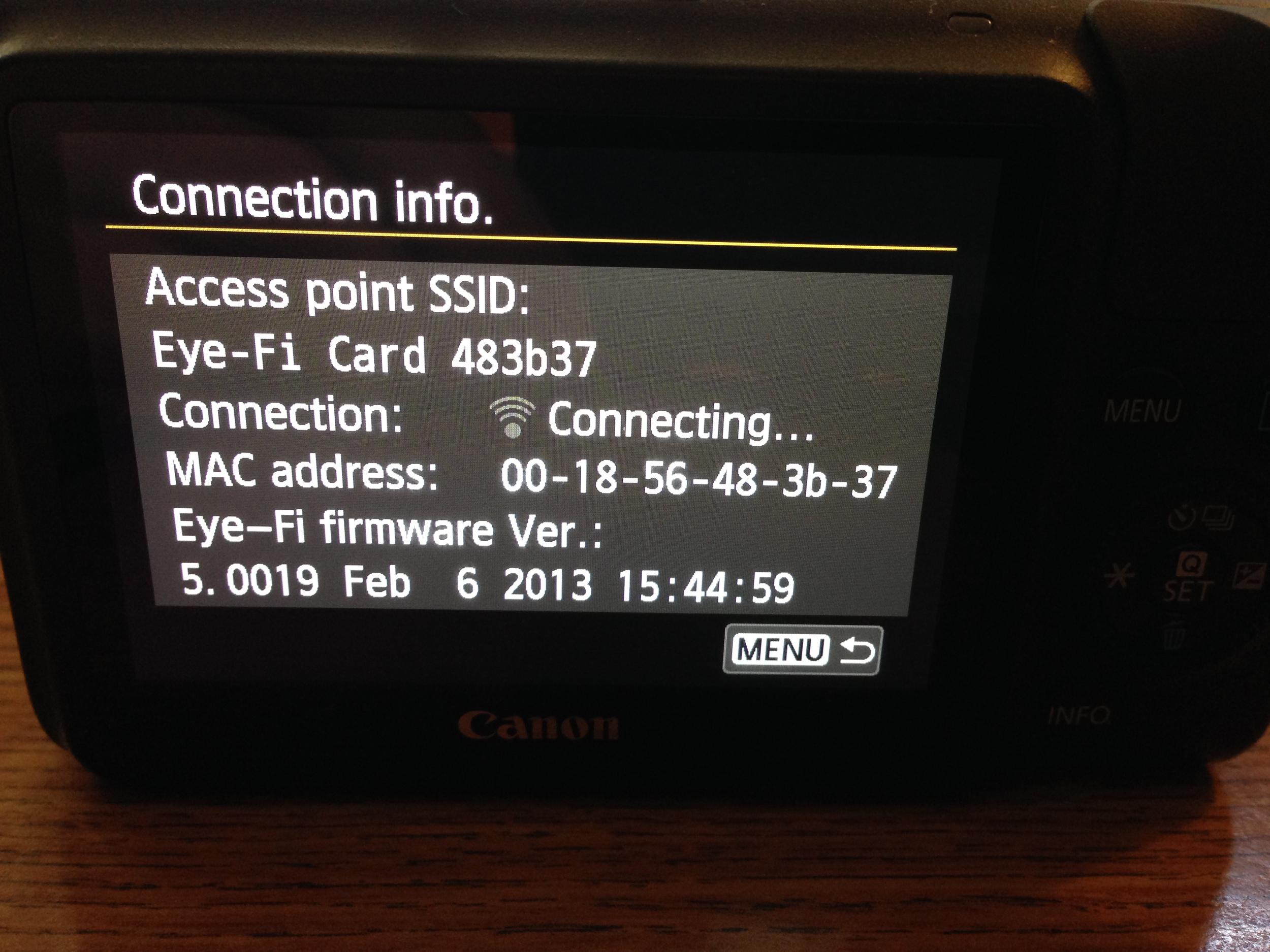 EOS M Eye-Fi Connection Info