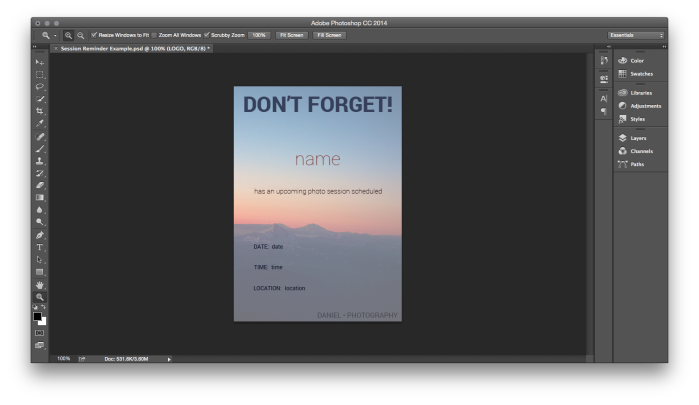 Template in Photoshop CC 2014