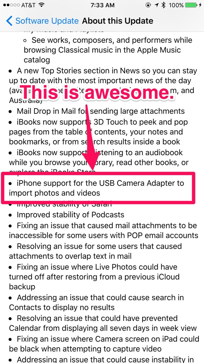 iPhone support for USB Camera Adapter
